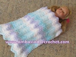 Red And White Hand Crochet Blanket For The American Girl Doll 21 x 24 Inches