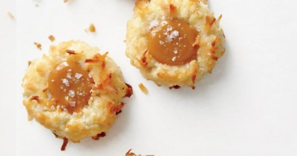 Do I dare try another caramel cookie? Coconut Thumbprint Cookies with Salted