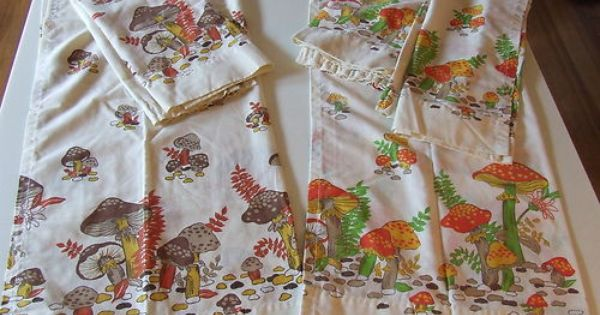 Vintage Merry Mushroom Retro 70 S Kitchen Cafe Curtains 5