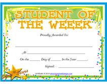 Student Of The Week Award Certificates Student Of The Week Star Of The Week Certificate Template