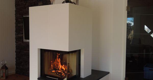 moderner 2 seitiger heizkamin schlicht wei gemauert mit natursteinbank fireplace heizkamin. Black Bedroom Furniture Sets. Home Design Ideas