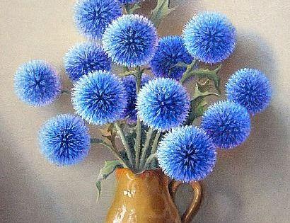 "still life by Robert Chailloux - ""Echinops"" - blue nature ..."