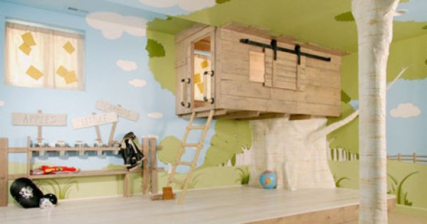 Cool indoor tree house bedroom. Best kids room ever!