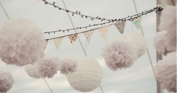 - fairy lights, pompoms and flags! white party
