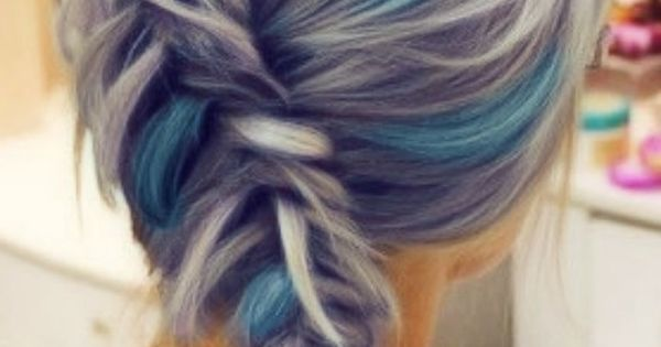 blue highlights. grey hair. asymmetrical fishtail braid