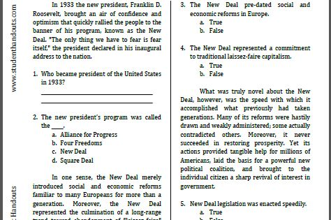 roosevelt and the new deal reading worksheet free to print pdf file for high school. Black Bedroom Furniture Sets. Home Design Ideas