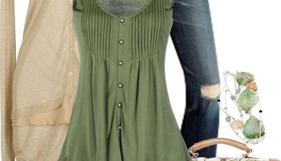 Green Cream by lagu on Polyvore - green tank top blouse, distressed