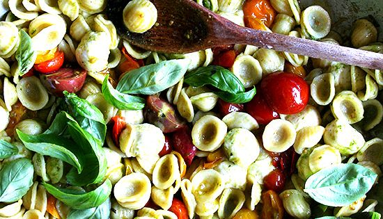 A Super Summery Pasta Salad.. Orecchiette with Cherry Tomatoes, Mozzarella & Basil
