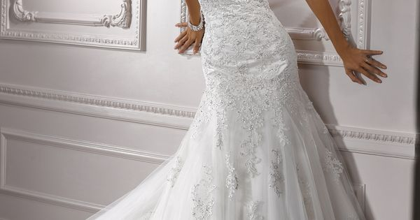 Lace halter top wedding dress, Maggie Sottero