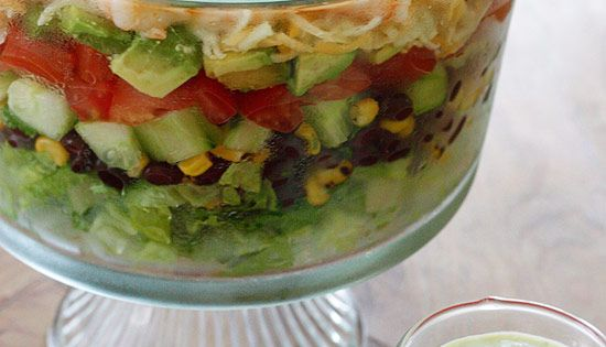 Mexican Shrimp Salad A beautifully layered salad with shrimp, avocados, grilled corn,