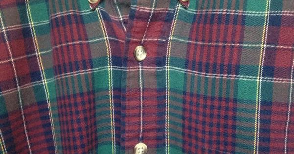 Vintage red green plaid flannel 90s grunge van heusen for Van heusen plaid shirts