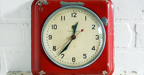 Vintage Wall Clock~Red General Electric Model By