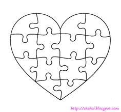 Free Heart Shaped Puzzle Template Shape Puzzles Templates