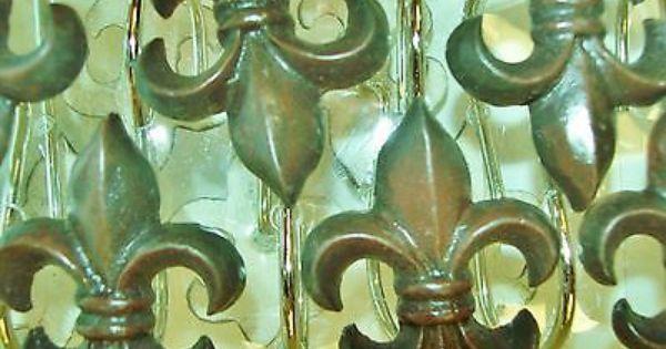 Fleur de lis shower curtain hooks fleur de lis pinterest showers fleur de lis and hooks - Fleur de lis shower curtain hooks ...