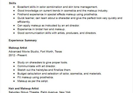 Makeup Artist Resume Sample Resume Examples Pinterest