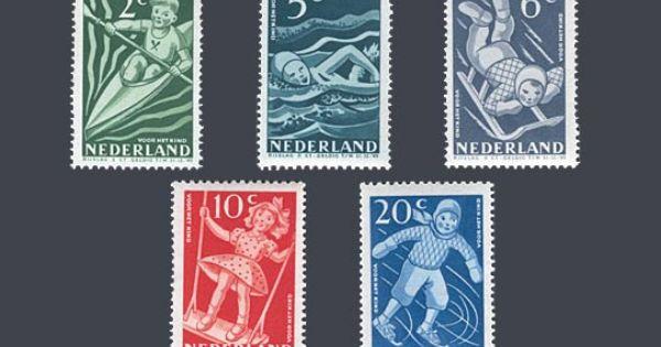 De kinderpostzegels uit 1948 met het thema kind en sport en spel ontwerp a v d vossen - Ontwerp kind ...
