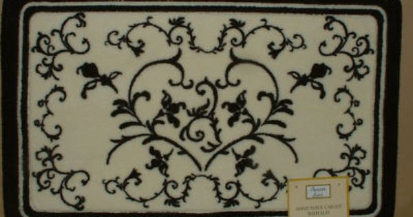 Bon Jour Black White Scroll Bath Mat Toile Damask Floor