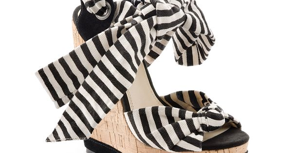 Awesome Black and White Striped Wedge Sandals fashion high_heels stripes black_and_white summer