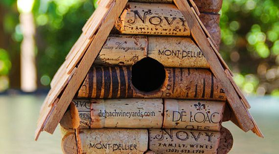 Wine Cork Craft Ideas | wine cork bird house. Too cute!