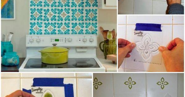 fliesen-streichen-muster-schablone-küchenspiegel-selber-machen - küchenspiegel selber machen