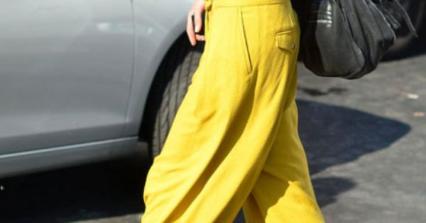 Super wide leg trousers in vibrant colors. (on my shopping list)