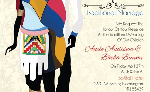 Cultural Wedding Invitations: Sinothando Ndebele Traditional Wedding Invitation