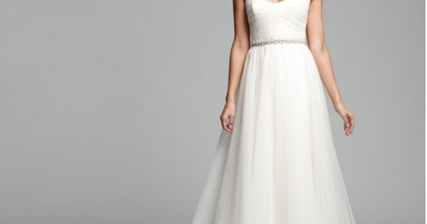NOUVELLE Amsale, beaded waist tulle gown. Nordstrom exclusive. Simple and yet oh,