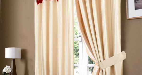 Golden Cream & Red Poppy Ring Top Eyelet Curtain