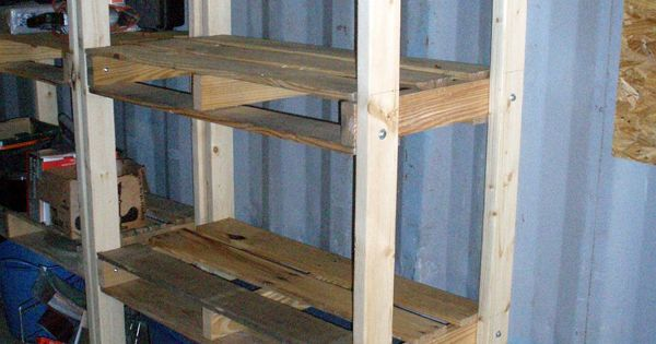 Pallet Shelves Would Be Good For The Garage Or Short Ones