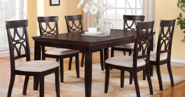 Dining Table And 6 Chairs For Under 500 F2199 Kissa Rich Brown Finish Di
