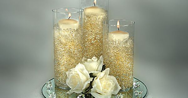 gold colored wedding candles | All Wedding Centerpieces are Custom Designed to
