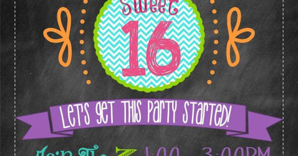 Sweet Sixteen Chalkboard Chevron Girl Birthday - Digital Custom Printable Invitation