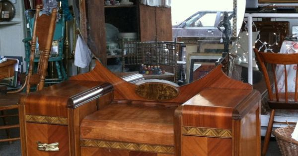 Dressing table with mirror - 1930 1940 S Art Deco Wood Inlay Vanity Dressing Table With