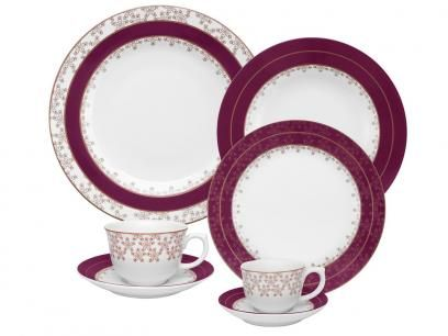 Aparelho De Jantar Flamingo Dama De Honra 30 Pecas Em Porcelana
