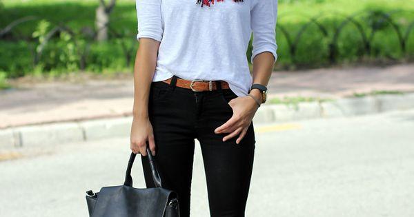 tartan scarf, white tee, black jeans, leopard shoes