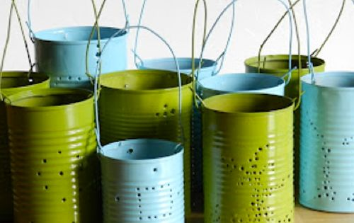 cool idea!! Repurpose tin cans; Make these lovely outdoor luminaries - I