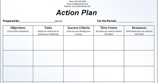 Action Plan Template My work Pinterest - action plans templates