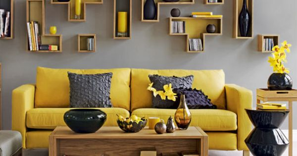 Yellow Sofa and Wood Table Furniture with Wall Art Painting Decor for