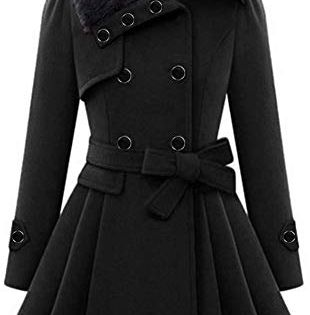 Faux Fur Lapel Thick Wool Blend Trench Coat Jacket Winter Warm Parka aihihe Womens Classic Double Breasted Coat