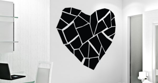 Abstract broken heart wall decal wallums holidays for Broken glass mural