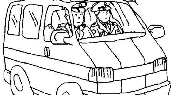 kleurplaat politiebus kleuters thema de politie