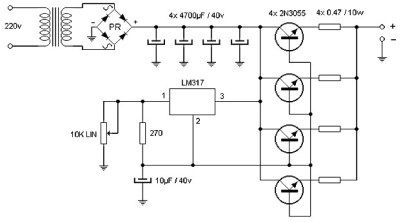 15 A Adjustable Power Supply Circuit Power Supply Circuit Electronic Circuit Projects Power Supply