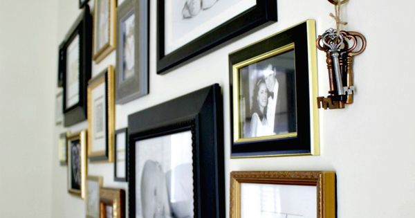 black, gold and silver frames gallery wall   Modern ...