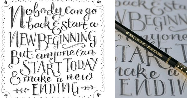 New years hand lettered quote using my pencil
