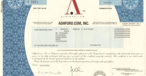 Ashford Com 2001 Internet Retailer Common Stock Stock Certificates Underwriting