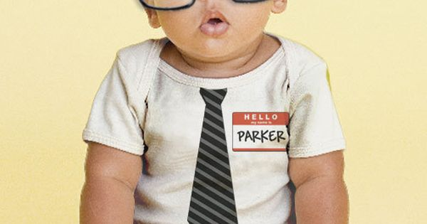 The New Guy - Tie Baby Bodysuit, Personalized Boy's Geek, Geekery Onepiece,