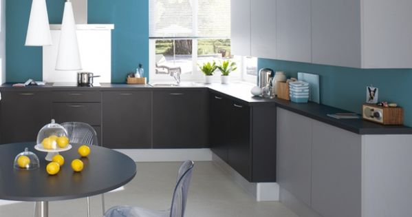 Cuisine grise bleu cuisinella cuisine kitchen for Peinture cuisine bleu