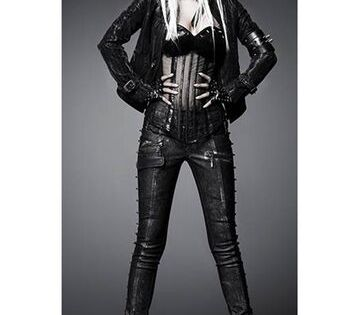 Men/'s Black Motorcycle Pencil Punk Pants Leather Trousers Cross Lace Gothic D24
