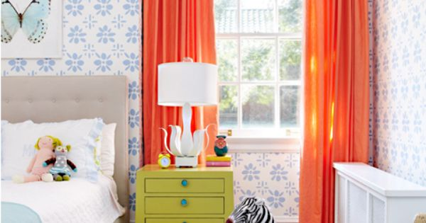Orange curtain + patterned wall+ zebra = fabulous kid's room