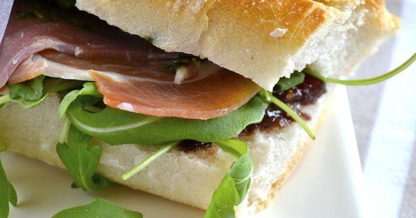 Prosciutto Sandwich with Fig, Pesto and Arugula | Recipe ...